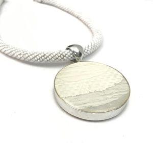 Chico's white silver round pendant necklace